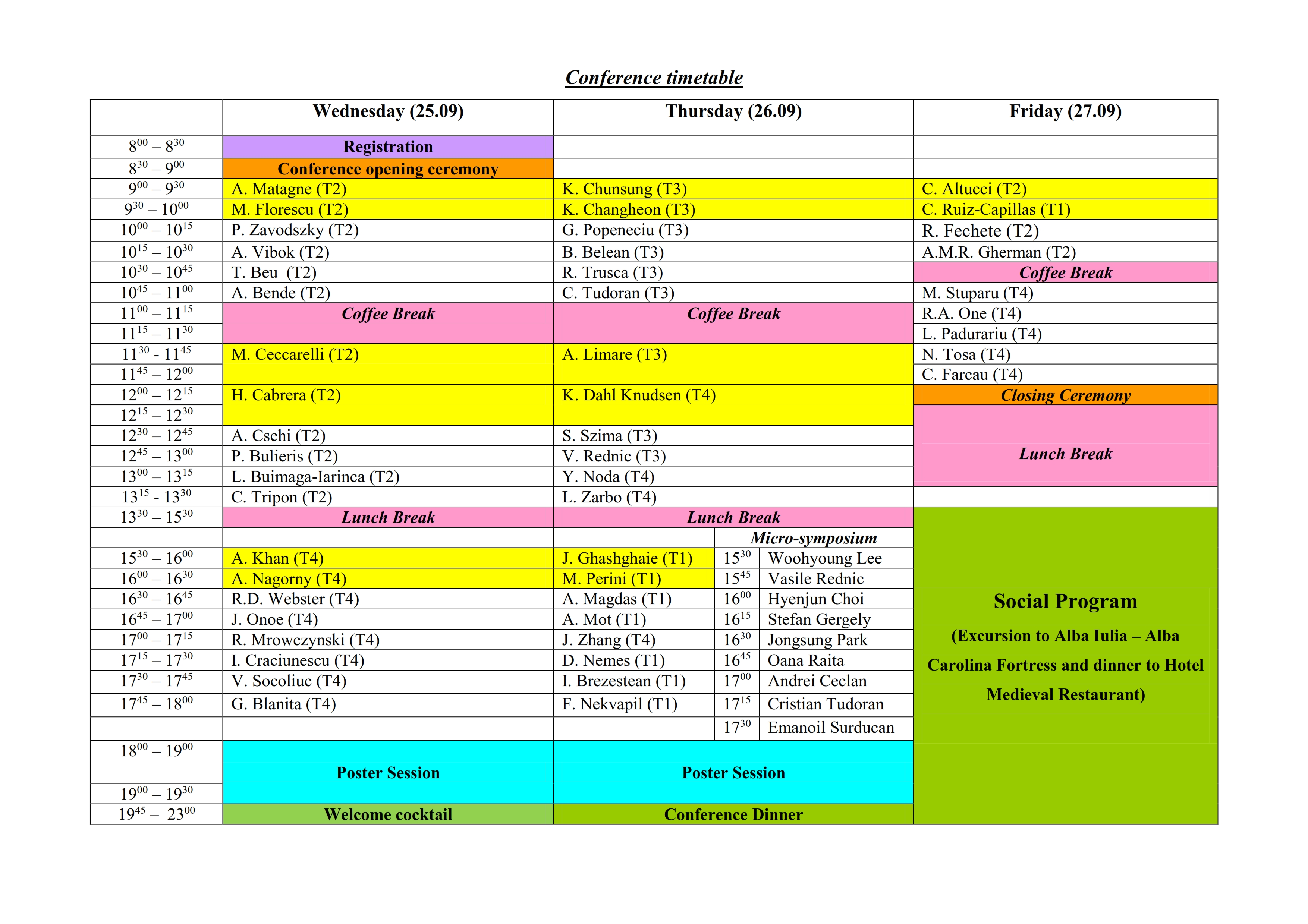 Conference timetable